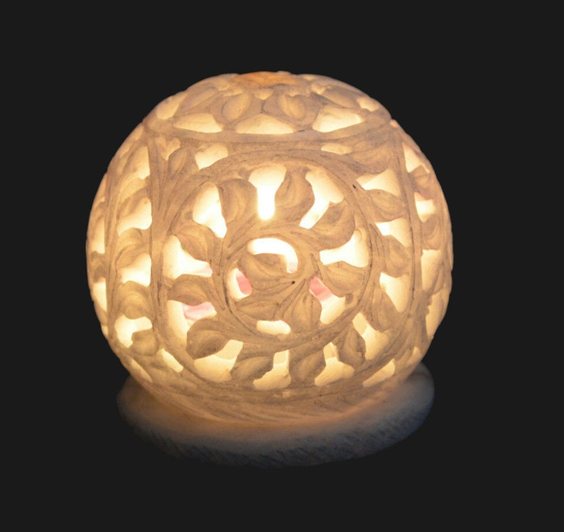 3 White Marble Lamp Candle Holder Hand Carved Flower Beautiful Lighting Decorations