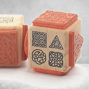 rubber stamp Celtic pattern signs Vintage Antique