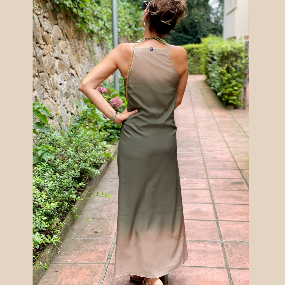 Khaky sleeveless dress Minimalist dress Dark green long
