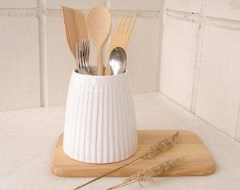 Utensil holder, Ceramic utensil holder, Utensil crock, Kitchen utensil holder, Spoon holder, Kitchen canisters, Ceramic vase, Ceramic jar