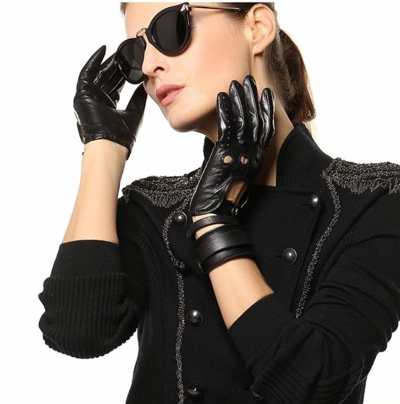 Sheep skin leather driving gloves for Women