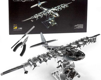 Model Airplane Kit with Tool kit- DIY Scale Model - 3D Model kit Heavenly Hercules - Moving Wind-Up Airplane Model 3D Puzzle for Adults