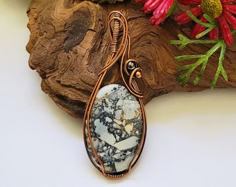 Maligano Jasper Wire Wrapped Pendant Necklace, 7th Anniversary Gift For Wife, Reiki Infused, Protection Necklace, Healing Stone