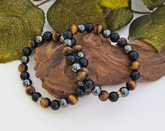 Triple Protection Bracelet, Tiger Eye, Hematite, Black Obsidian, Anxiety Relief, Good Luck, Grounding Stone, Beaded Stretch Bracelet