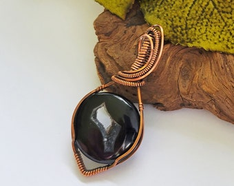 Black Agate With Druzy Quartz Wire Wrapped Pendant Necklace, One Of A Kind Healing Jewelry, Reiki Jewelry, 7th Anniversary Gift For Wife