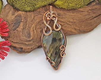 Labradorite Wire Wrapped Pendant Necklace, Reiki Infused Jewelry, Healing Jewelry, 7th Anniversary Gift For Wife, One of a Kind Jewelry