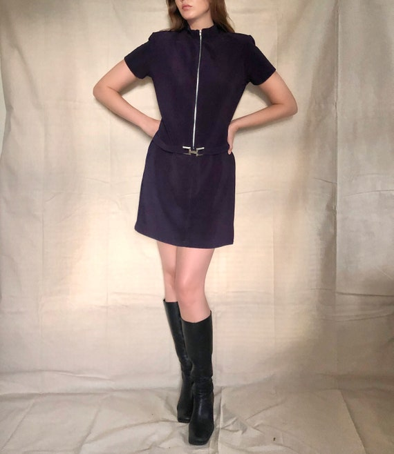 90s Does 60s Navy Zip Front Mod Mini Dress | Small