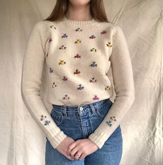 Vintage Shetland Wool Rosette Embroidered Cream Sw
