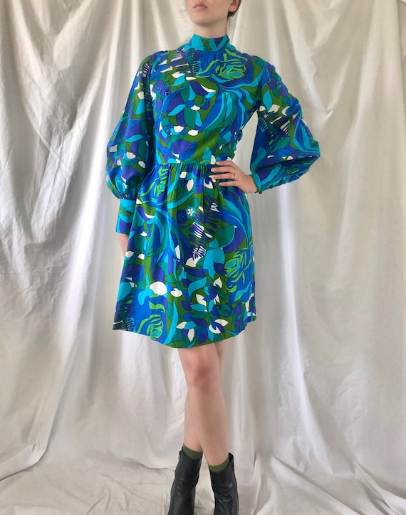 60s Psychedelic Balloon Sleeve Dress | Small