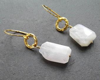 d81c8d24f Gold moonstone dangle earrings