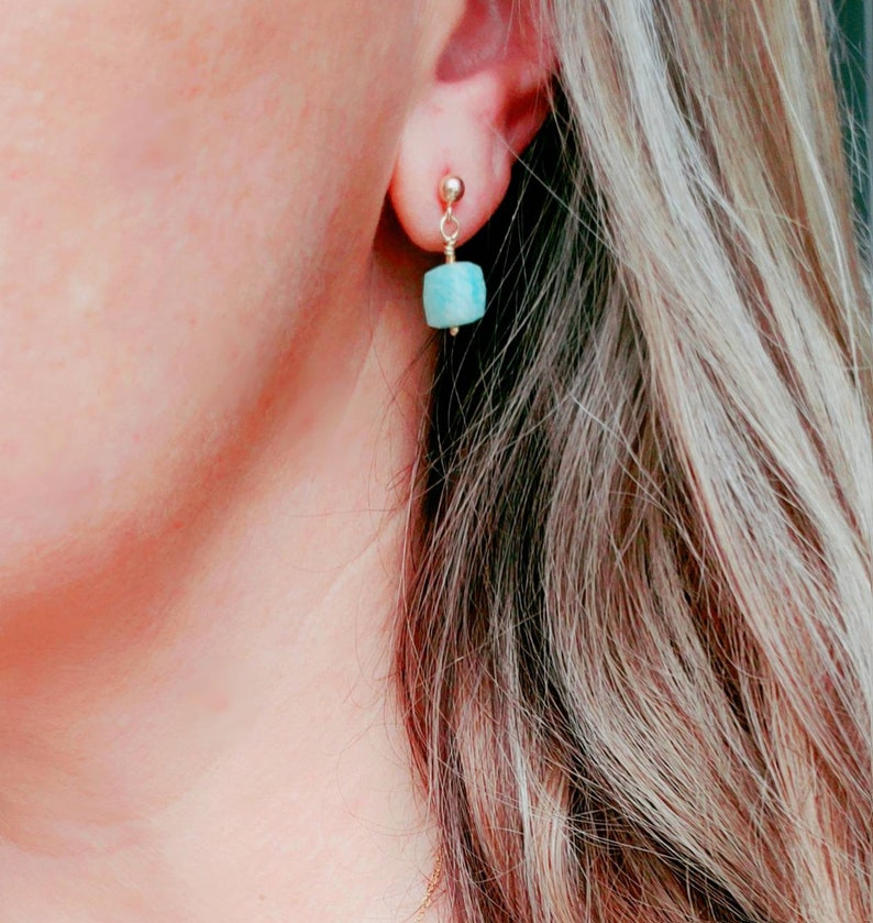Faceted aqua green amazonite cube on gold ear wires