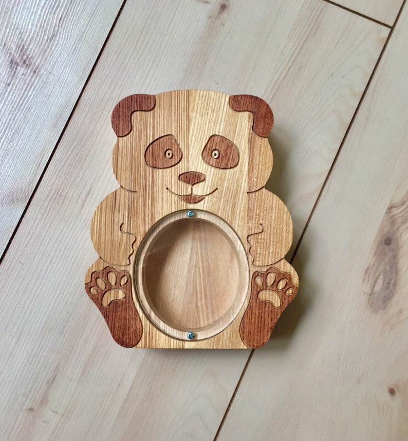 Personalizable wooden teddy bank panda bear for kids Big baby bank Money coin box toys gift