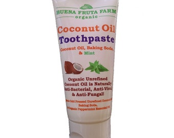 Coconut Oil Toothpaste, Organic, Cleans and Whitens Gently, No Fluoride, Child Safe