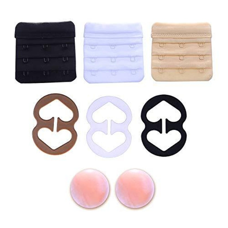 Pregnancy Bra Extender with Two-hooks Value 6-Pack of Black, White and Beige