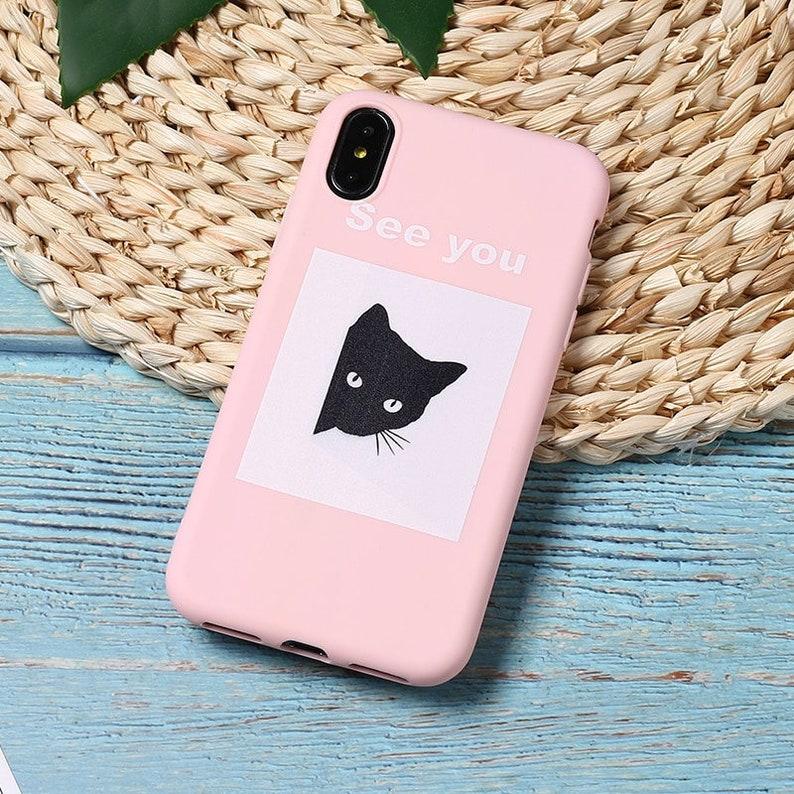 9b125575d3 Black Cat Phone Case for iPhone 5 5s SE 6 6s 7 8 Plus X XR XS | Etsy