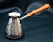 Coffee Pot Maker Cezve Ibrik Arabic Greek Turkish Armenian Jazzve 8oz 250 ml Copper Wooden Handle NEW , Gift