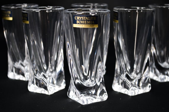 Russian European Cut Crystal Liqueur,Vodka Decanter /& 6 Shot Glasses in Gift BOX