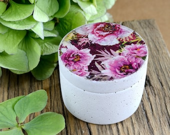 Small concrete can with lid - round - floral pattern - vintage style - shabby chic - concrete - gift - DR001 Pink Flowers