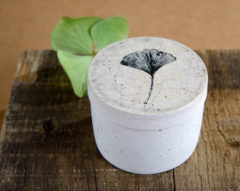 Small concrete can with lid - round - Floral pattern - Vintage Style - Shabby Chic - Concrete - Gift - DR002 Ginkgo