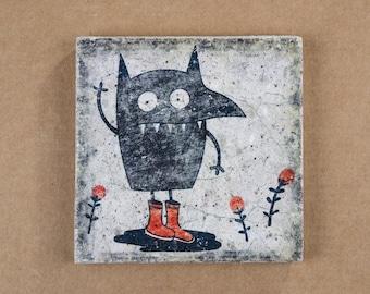Coaster - Graffiti - Tile - approx. 10 x 10 cm - Street Art - Vintage Style - Concrete - Gift - 081
