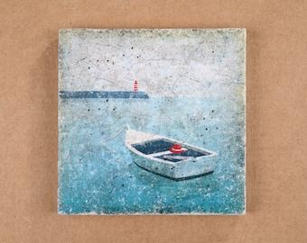 Untersetzer - Fliese - Kachel - ca. 10x10cm - Vintage Style - Shabby Chic - Maritimes Motiv Boot - Beton - Geschenk - 085