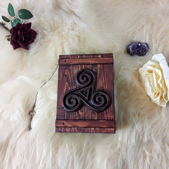 Aged Triskelion Grimoire, Handmade journal, Book of Shadows, Grimoire, Witches journal, Magic book, Book of Shadows journal, Spell book,