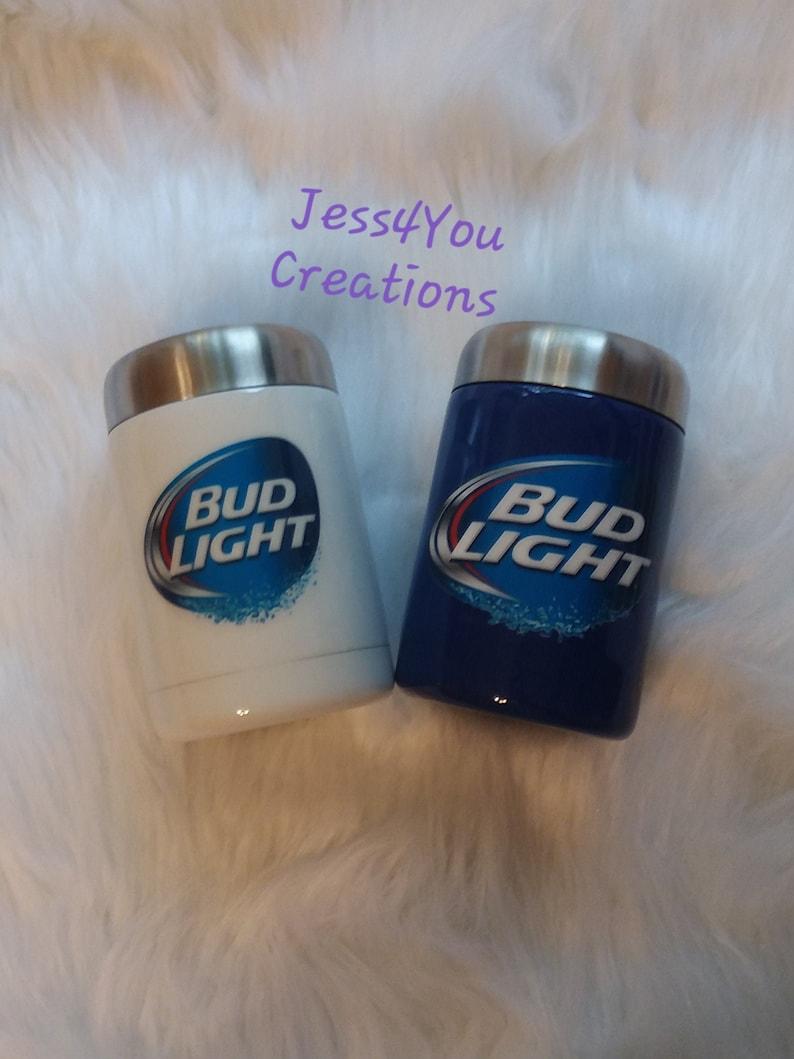 Bud Light Can Cooler, Stainless Steel Tumbler, Can Holder, Bud Light,  Beverage Holder, Alcohol Can Cooler, Soda Can Cooler