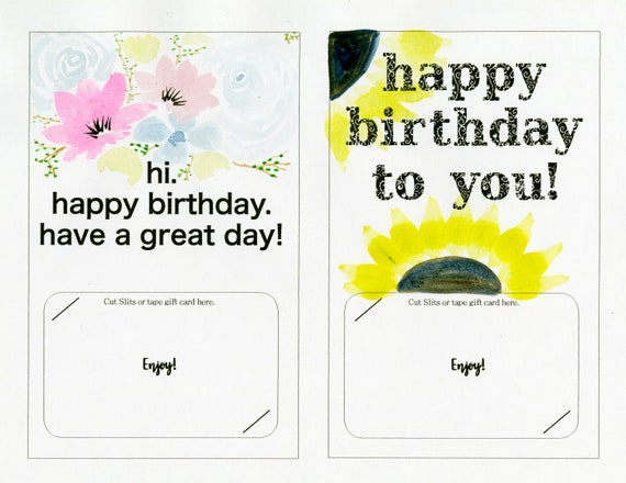 Happy Birthday Gift Card Holder Printable Instant Download Etsy