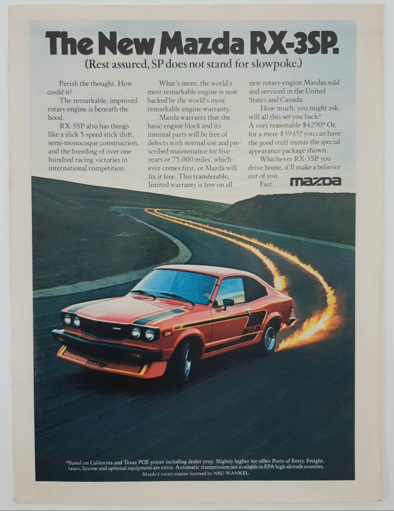 Vintage magazine ad for the Mazda RX-3SP.