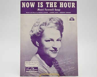"""1946 Sheet Music """"Now is the Hour"""" Maori Farewell Song introduced by Gracie Fields."""