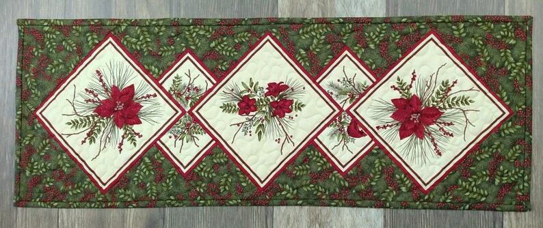 30 x 11 Medium Christmas Focal Print and Poinsettia on Point Quilted Table Runner