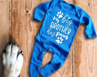 Vêtements garçons (0-24 mois) Ma grande soeur a pattes à manches longues bleu marine Babygrow rompersuit Body