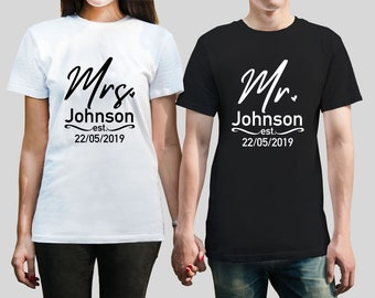 963b7879f18a Custom surname Mr. and Mrs. Unisex T-Shirts set. His and her set, with  custom wedding date. Newly weds, Husband and wife
