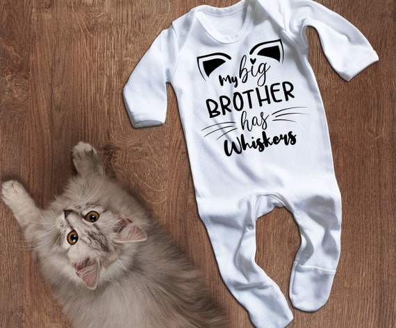 Custom name My big brother has paws white long sleeve baby grow rompersuit