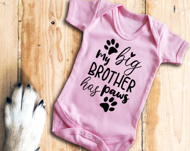rabbits animals Baby/'s with cats My big brother has paws pink baby grow bodysuit vest dogs
