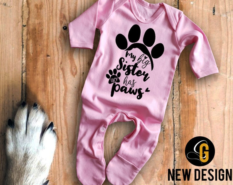 Custom name My big sister has paws pink long sleeve baby grow rompersuit sleepsuit bodysuit Baby/'s with cats dogs pets