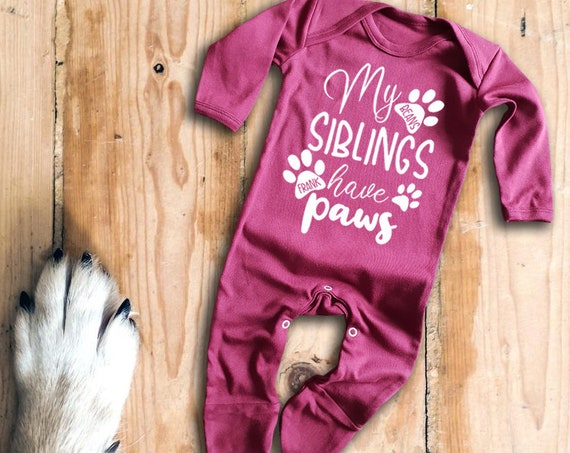 cat dog paws My siblings have Paws short sleeve light blue baby grow bodysuit