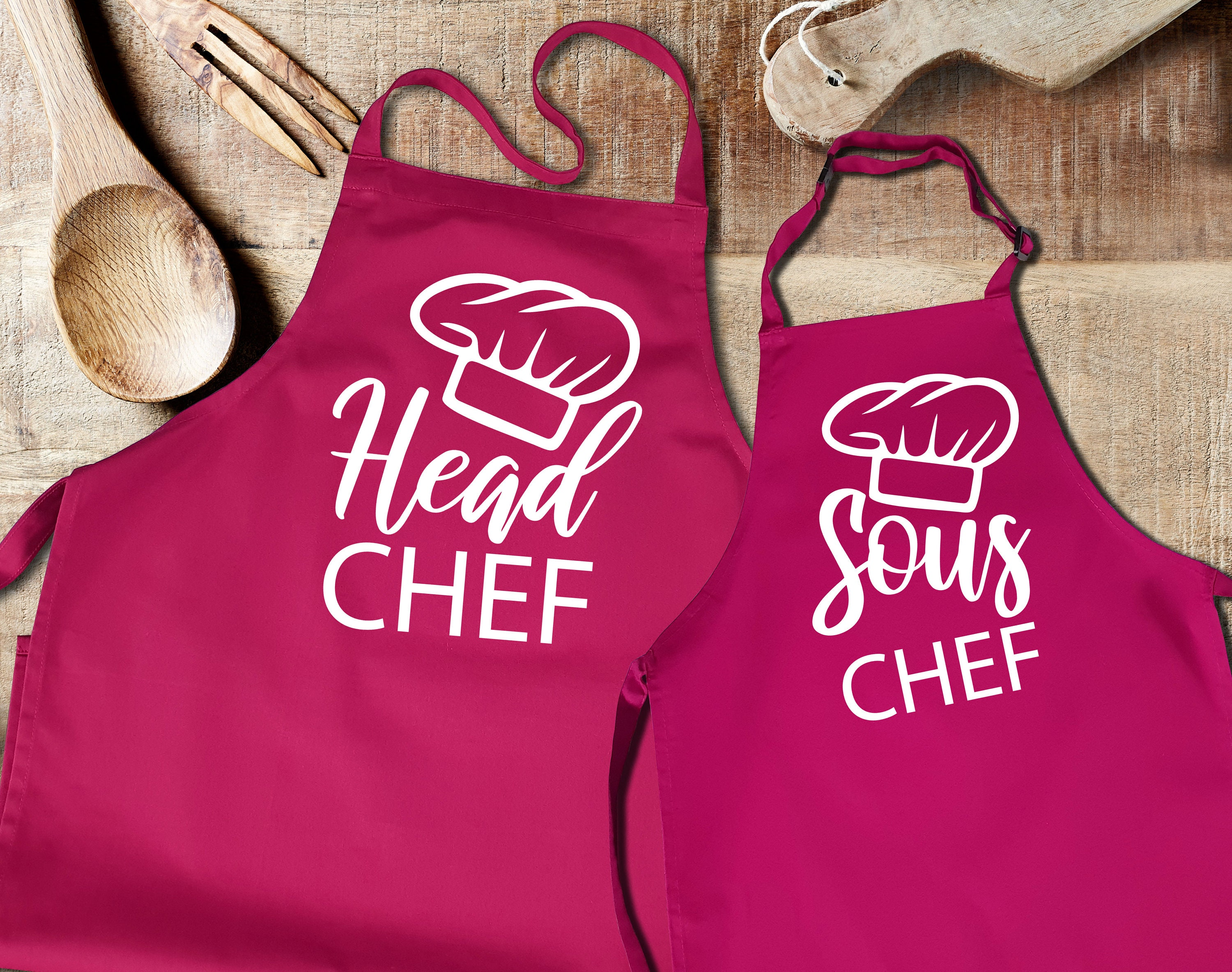 Head Chef Set of 2 Matching Apron Adult and Child Fathers Day Gift PERSONALISED Sous Chef