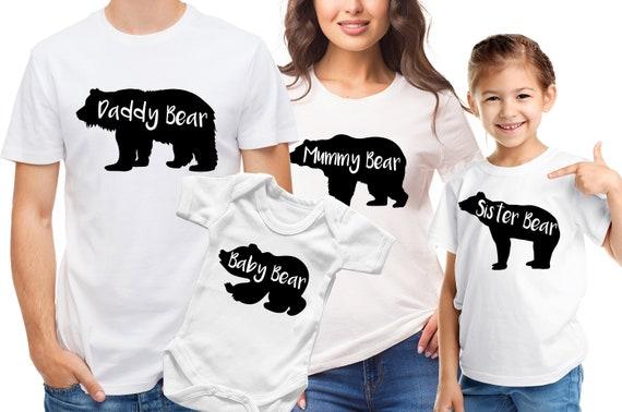 Papa Mama Baby Bear family T-shirts and Baby Grow Set Pregnancy Reveal