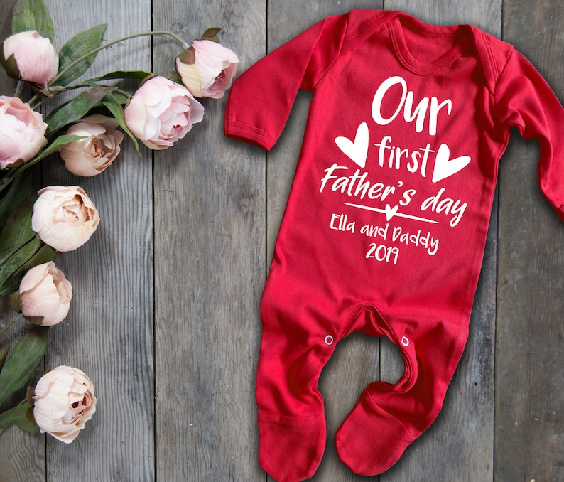 Fathers day gift Custom Our first Father/'s day red long sleeve baby grow rompersuit sleepsuit bodysuit