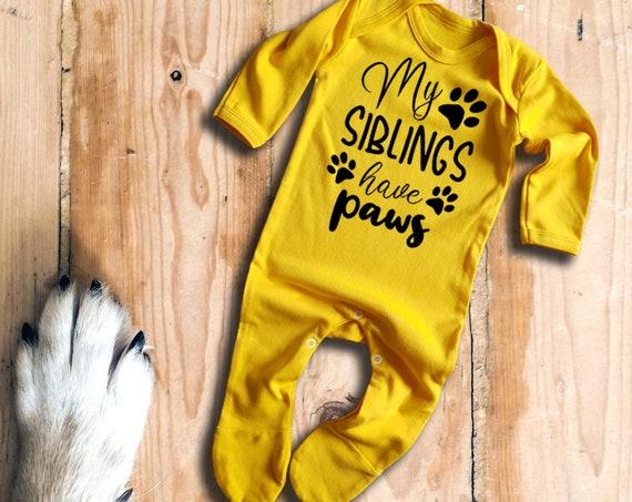 My siblings have Paws yellow baby grow bodysuit rompersuit sleepsuit