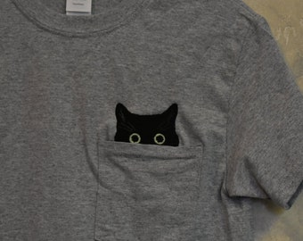 87cfef37e Black Cat Embroidered Pocket T-shirt