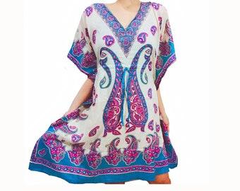 5da27ae694176 HIPPIECLOTHS African Women Dashiki Dress Kaftan Plus Size Summer Beach Boho  Hippie Floral White Dresses Short Plus Size