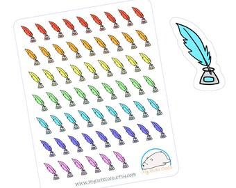 96 pcs QUILL PEN Penmanship Writing Calligraphy Handwriting School Icon Foil Planner Sticker Sheet Write
