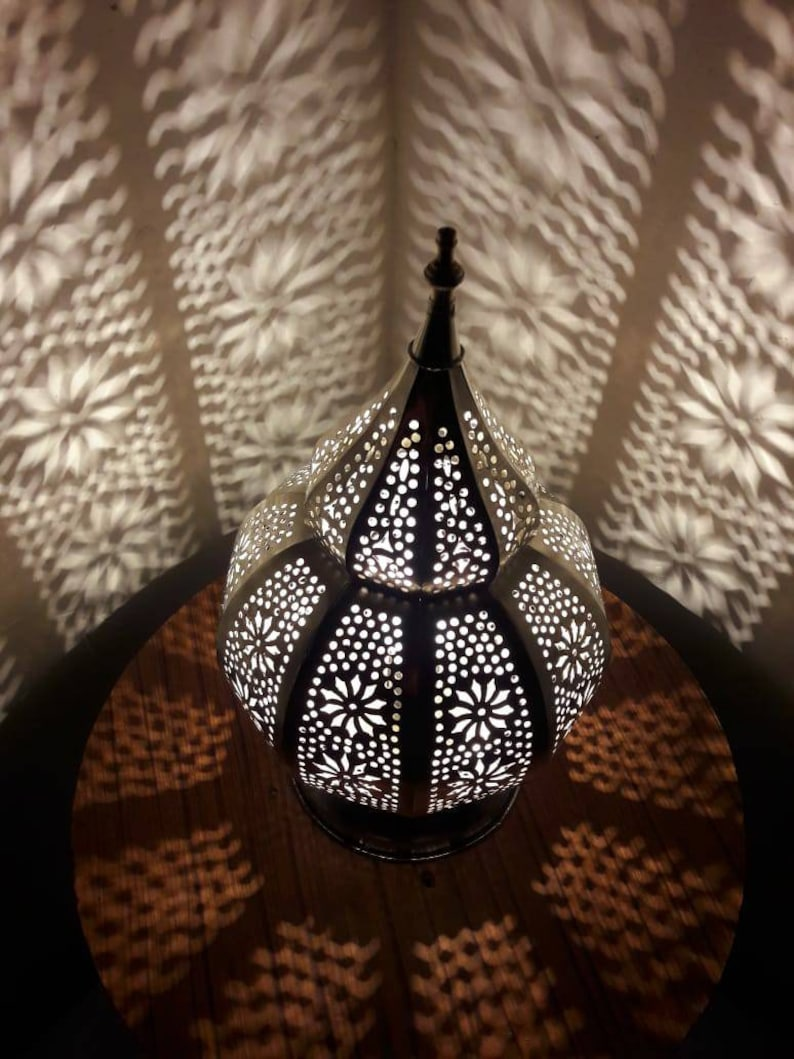 Moroccan Decoration Modern Bedside lights Moroccan Silver Bedside lamp hurricane shadows on the wall