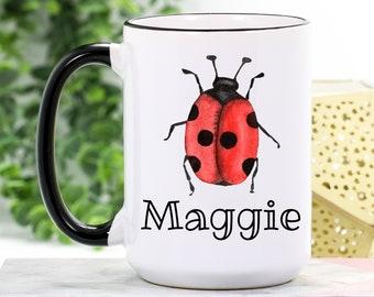 Cute Ladybug Mug Personalized Ladybug Mug Lady Bug Gifts Ladybug Coffee Cup