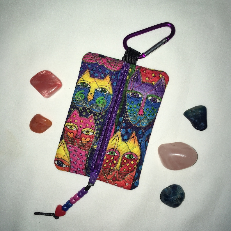 Mini Bag,with Carabiner Clip Earbud Pouch Crystal Mojo Bag Laurel Burch Cats Fabric Zippered Clip-on Pouch Wallet