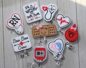 Nurse Badge Reel ID Badge Reel Badge Reel Interchangeable Badges RN Badge Reel Badge Holder Retractable Badge Coffee Badge Topper Set