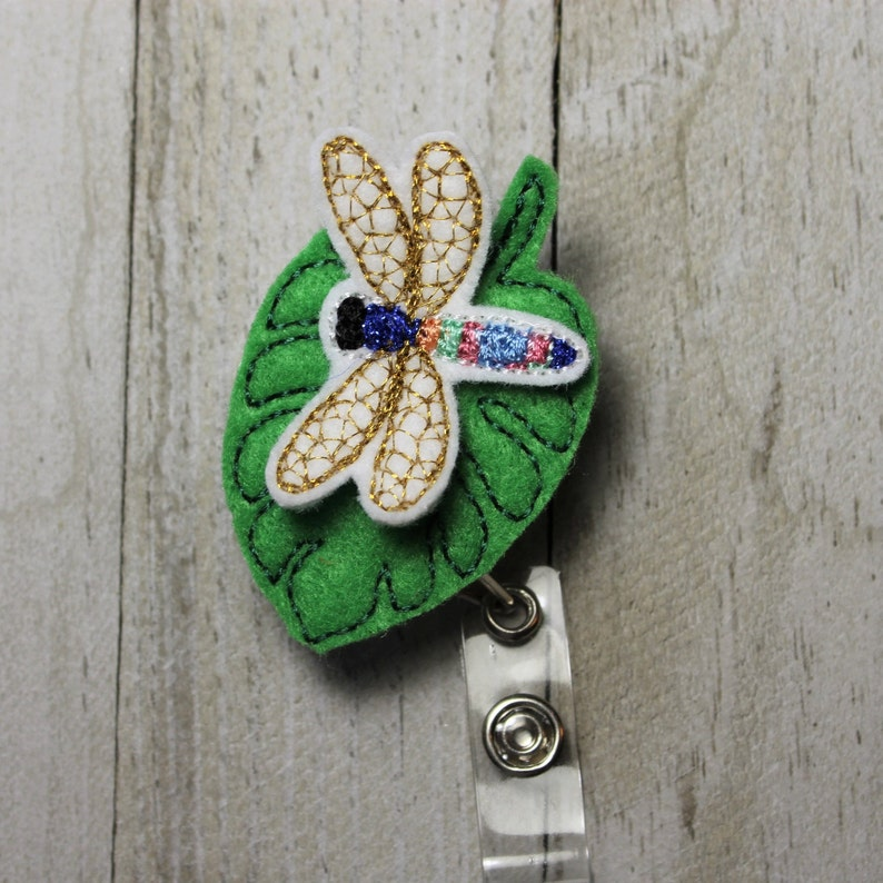Dragonfly name tag Beautiful Shimmering Dragonfly retractable badge holder