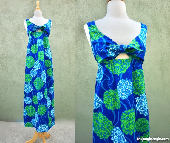 Vintage 1960s Barkcloth Print Blue Maxi Dress By B